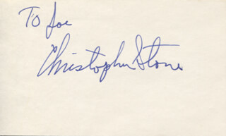 CHRISTOPHER STONE - INSCRIBED SIGNATURE