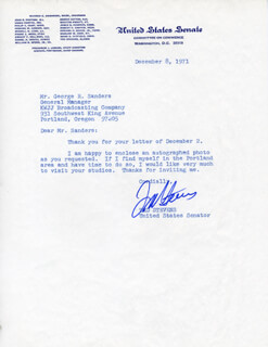 TED STEVENS - TYPED LETTER SIGNED 12/08/1971