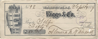 ALMIRA RUSSELL HANCOCK - AUTOGRAPHED SIGNED CHECK 09/13/1889