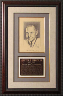 Autographs: WALTER P. CHRYSLER SR. - PRINTED ART SIGNED IN INK 01/27/1934