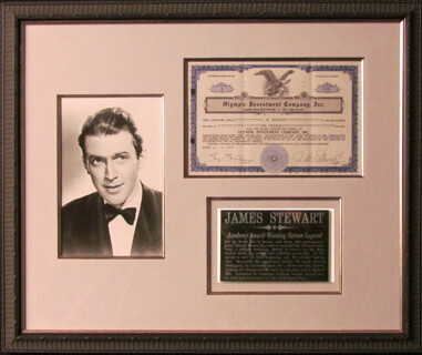 Autographs: JAMES JIMMY STEWART - STOCK CERTIFICATE SIGNED
