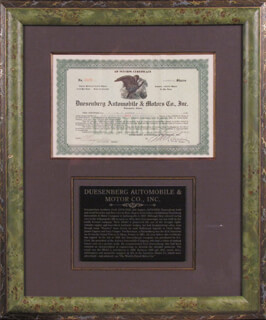 Autographs: DUESENBERG AUTOMOBILE - STOCK CERTIFICATE SIGNED 03/13/1922