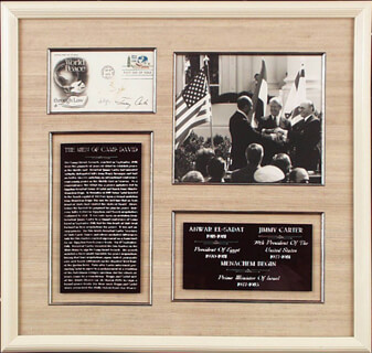 Autographs: PRESIDENT JAMES E. JIMMY CARTER - FIRST DAY COVER SIGNED 09/29/1975 CO-SIGNED BY: PRESIDENT ANWAR SADAT (EGYPT), PRIME MINISTER MENACHEM BEGIN (ISRAEL)