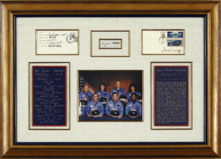 SPACE SHUTTLE CHALLENGER - STS - 51L CREW - COLLECTION WITH LT. COLONEL ELLISON S. EL ONIZUKA, GREG JARVIS, RONALD E. McNAIR, LT. COLONEL DICK (FRANCIS R.) SCOBEE, CHRISTA McAULIFFE, JUDITH A. JUDY RESNIK, CAPTAIN MICHAEL J. SMITH