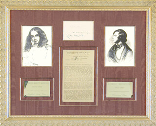 ELIZABETH BARRETT BROWNING - AUTOGRAPH NOTE SIGNED 10/21/1856 CO-SIGNED BY: ROBERT BROWNING