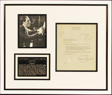 Autographs: GEORGE GERSHWIN - TYPED LETTER SIGNED 09/14/1931