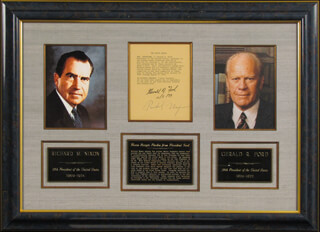 Autographs: PRESIDENT RICHARD M. NIXON - TYPESCRIPT SIGNED 11/05/1979 CO-SIGNED BY: PRESIDENT GERALD R. FORD