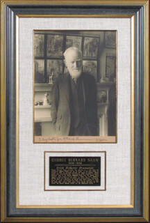 GEORGE BERNARD SHAW - INSCRIBED PHOTOGRAPH MOUNT SIGNED 11/1938