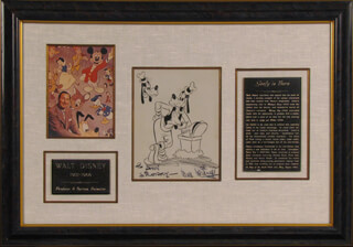WALTER E. WALT DISNEY - INSCRIBED PRINTED CARTOON SIGNED IN INK