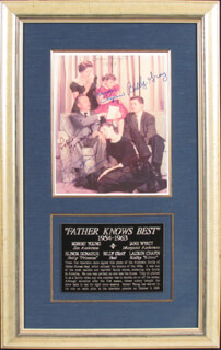 FATHER KNOWS BEST TV CAST - AUTOGRAPHED SIGNED PHOTOGRAPH CIRCA 1988 CO-SIGNED BY: LAUREN CHAPIN, ELINOR DONAHUE, BILLY GRAY, ROBERT YOUNG, JANE WYATT