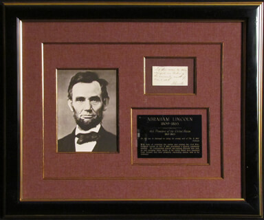 PRESIDENT ABRAHAM LINCOLN - AUTOGRAPH ENDORSEMENT SIGNED 12/08/1863