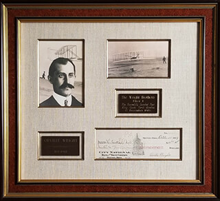 ORVILLE WRIGHT - AUTOGRAPHED SIGNED CHECK 10/25/1929