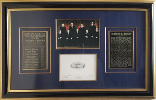 THE WARREN E. BURGER COURT - SUPREME COURT ENGRAVING SIGNED CO-SIGNED BY: ASSOCIATE JUSTICE BYRON R. WHITE, CHIEF JUSTICE WARREN E. BURGER, ASSOCIATE JUSTICE LEWIS F. POWELL JR., ASSOCIATE JUSTICE WILLIAM O. DOUGLAS, ASSOCIATE JUSTICE POTTER STEWART, ASSOCIATE JUSTICE WILLIAM J. BRENNAN JR., ASSOCIATE JUSTICE THURGOOD MARSHALL, CHIEF JUSTICE WILLIAM H. REHNQUIST, ASSOCIATE JUSTICE HARRY A. BLACKMUN - HFSID 348087