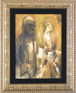CHARLES BRAGG - THE FALCONER OIL PAINTING ON PANEL SIGNED CIRCA 1961