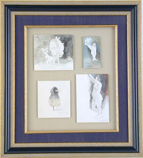 FOUR PENCIL AND WATERCOLOR ORIGINAL DRAWINGS SIGNED COLLECTION
