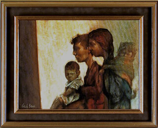 CHARLES BRAGG - THE FAMILY OIL PAINTING ON CANVAS SIGNED