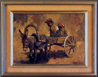 CHARLES BRAGG - THE WAGON OIL PAINTING ON PANEL SIGNED CIRCA 1959