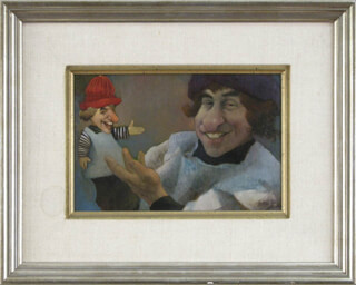 CHARLES BRAGG - SAM AND FRIEND OIL PAINTING ON CANVAS SIGNED CIRCA 1972