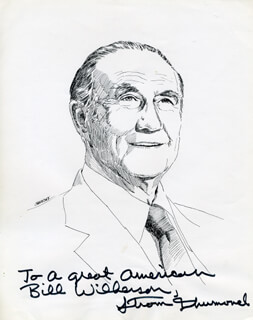 STROM THURMOND - INSCRIBED ILLUSTRATION SIGNED