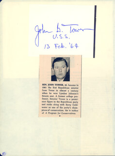 JOHN G. TOWER - AUTOGRAPH 02/13/1964 CO-SIGNED BY: ROBERT W. SARNOFF