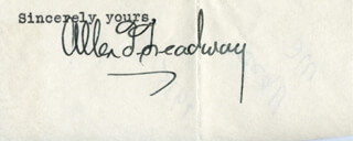 ALLEN T. TREADWAY - TYPED SENTIMENT SIGNED