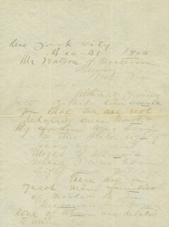 WILLIAM BARCLAY BAT MASTERSON - AUTOGRAPH LETTER SIGNED 12/31/1905  - HFSID 348287