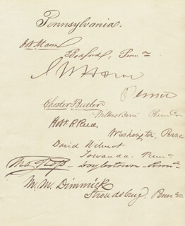 DAVID WILMOT - AUTOGRAPH CIRCA 1849 CO-SIGNED BY: JOB MANN, CHESTER PIERCE BUTLER, ROBERT RENTOUL REED, THOMAS ROSS, JOHN W. HOWE, MILO MELANKTHON DIMMICK