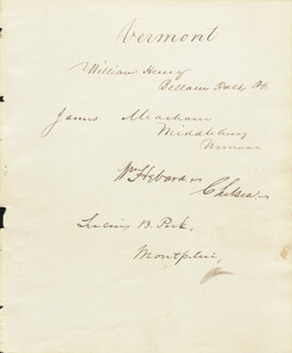 WILLIAM HENRY - AUTOGRAPH CO-SIGNED BY: LUCIUS B. PECK, WILLIAM HEBARD, JAMES MEACHAM