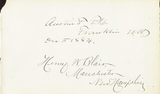 Autographs: HENRY W. BLAIR - SIGNATURE(S) CO-SIGNED BY: AUSTIN F. PIKE