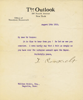 Autographs: PRESIDENT THEODORE ROOSEVELT - TYPED LETTER SIGNED 08/19/1910