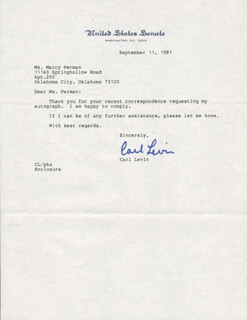 CARL LEVIN - TYPED LETTER SIGNED 10/11/1981