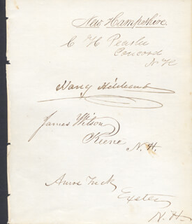 AMOS TUCK - AUTOGRAPH CO-SIGNED BY: JAMES WILSON, CHARLES HAZEN PEASLEE, HARRY HIBBARD