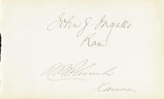 SENATOR JOHN J. INGALLS - AUTOGRAPH CO-SIGNED BY: PRESTON B. PLUMB