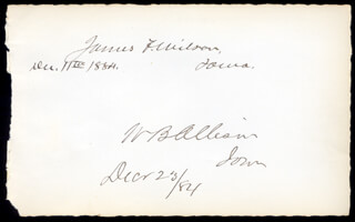 JAMES FALCONER WILSON - AUTOGRAPH 12/11/1884 CO-SIGNED BY: WILLIAM B. ALLISON
