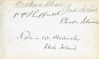 NELSON W. ALDRICH - AUTOGRAPH CO-SIGNED BY: WILLIAM P. SHEFFIELD, JONATHAN CHACE