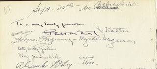 HOMER FERGUSON - AUTOGRAPH 9/20 CO-SIGNED BY: ALEXANDER WILEY, MYRTLE JONES FERGUSON, MAY JENKINS WILEY, GRACE PAGANO