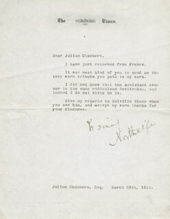 ALFRED C. HARMSWORTH - TYPED LETTER SIGNED 03/28/1916