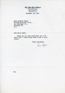 JAMES RESTON - TYPED NOTE SIGNED 11/05/1962