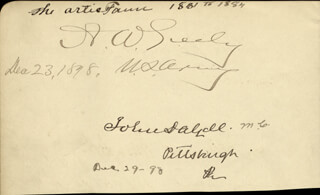 Autographs: MAJOR GENERAL ADOLPHUS W. GREELY - SIGNATURE(S) 12/23/1898 CO-SIGNED BY: CHARLES J. JUNIOR FAULKNER, JAMES H. BERRY, JOHN DALZELL