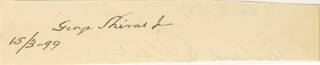 ASSOCIATE JUSTICE GEORGE SHIRAS JR. - AUTOGRAPH 03/15/1899