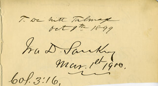 IRA D. SANKEY - AUTOGRAPH 10/09/1899 CO-SIGNED BY: THOMAS DE WITT TALMAGE