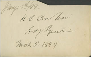 Autographs: LT. GENERAL HENRY C. CORBIN - SIGNATURE(S) 03/05/1899 CO-SIGNED BY: GOVERNOR J. HOGE TYLER