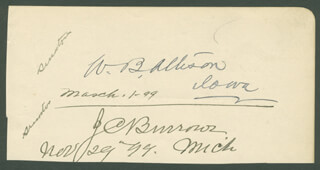 Autographs: WILLIAM B. ALLISON - SIGNATURE(S) CIRCA 1899 CO-SIGNED BY: JULIUS C. BURROWS, GONZALO DE QUESADA Y AROSTEGUI