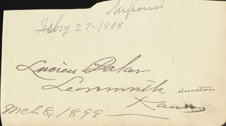 LUCIEN BAKER - AUTOGRAPH 03/08/1899 CO-SIGNED BY: ADDISON G. FOSTER