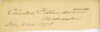 BRIGADIER GENERAL CHARLES FREDERICK MANDERSON - AUTOGRAPH 12/23/1898 CO-SIGNED BY: MOSES EDWIN CLAPP