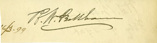 Autographs: ASSOCIATE JUSTICE RUFUS W. PECKHAM - CLIPPED SIGNATURE 06/03/1899 CO-SIGNED BY: WILSON S. BISSELL