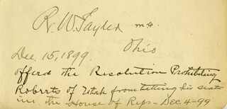 Autographs: ROBERT WALKER TAYLER - SIGNATURE(S) 12/15/1899 CO-SIGNED BY: MAJOR GENERAL HENRY M. TELLER