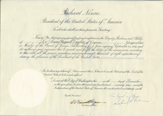 Autographs: PRESIDENT RICHARD M. NIXON - CIVIL APPOINTMENT SIGNED 12/06/1971 CO-SIGNED BY: WILLIAM P. ROGERS