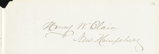 Autographs: HENRY W. BLAIR - CLIPPED SIGNATURE