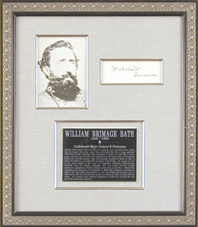 Autographs: MAJOR GENERAL WILLIAM B. BATE - SIGNATURE(S)